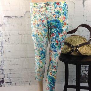 Nanette Lepore Floral Print Ankle Zip Pants